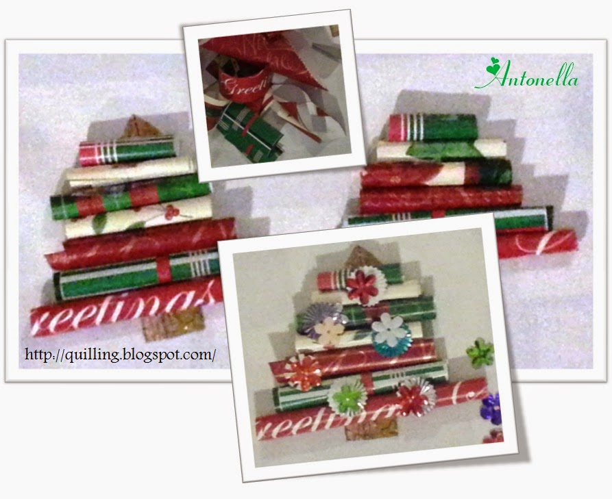 Super Quick and Easy Christmas Tree gift tag or ornament from your wrapping paper scraps from Antonella at www.quilling.blogspot.com