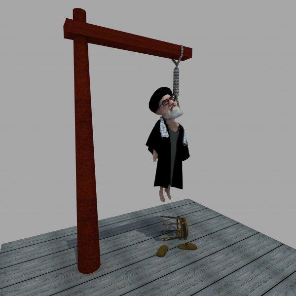 کارتون سید علی خامنه ای ، کاریکاتور ولی فقیه ، اعدام خامنه ای ، چوبه دار ، مرگ ولایت مطلقه فقیه ، جمهوری اسلامی ، اعدام دیکتاتور بزرگ ،