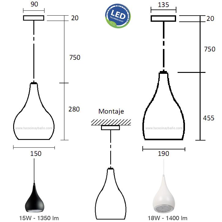 medidas lampara led cocina