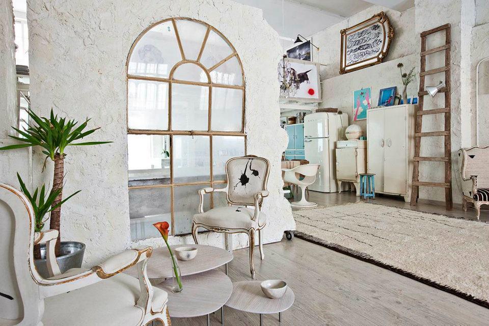 Interior un estudio en blanco vintage virlova style for Decoracion bohemia vintage