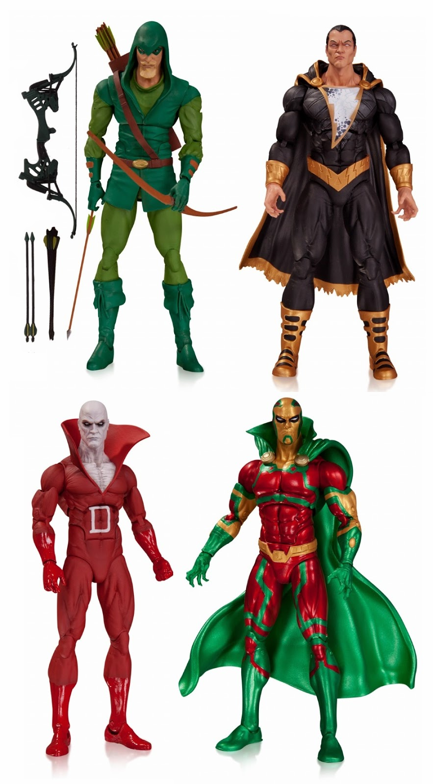 DC Comics Icons Wave 1 Action Figures - Green Arrow, Black Adam, Deadman & Mister Miracle
