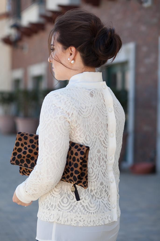 banana republic lace pullover, clare v. leopard clutch, baublebar 360 pearl earrings