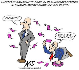 M5S, banconote, finanziamento pubblico, satira vignetta