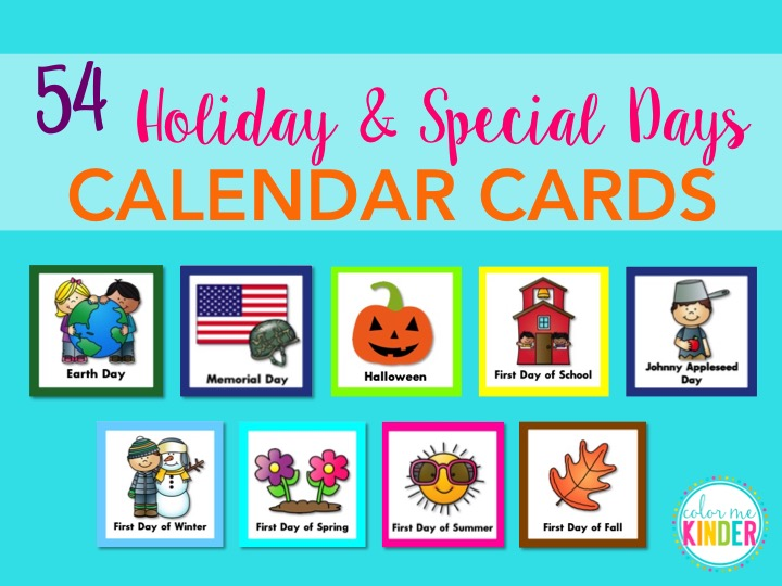 June Calendar Special Days : Holiday special days calendar cards color me kinder