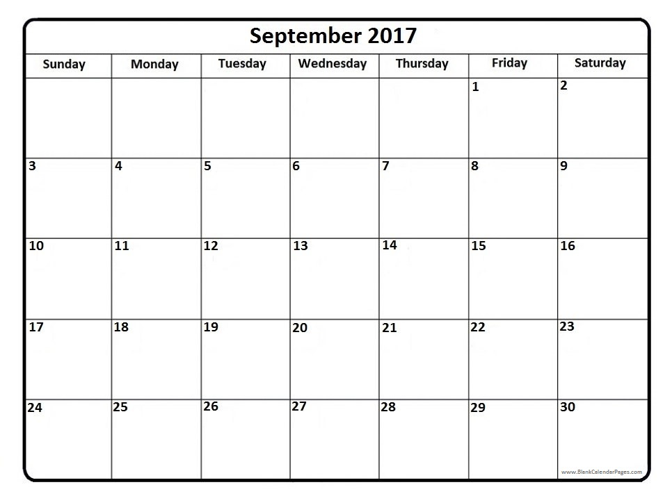 September 2017 Calendar Printable - Holidays, PDF, Word