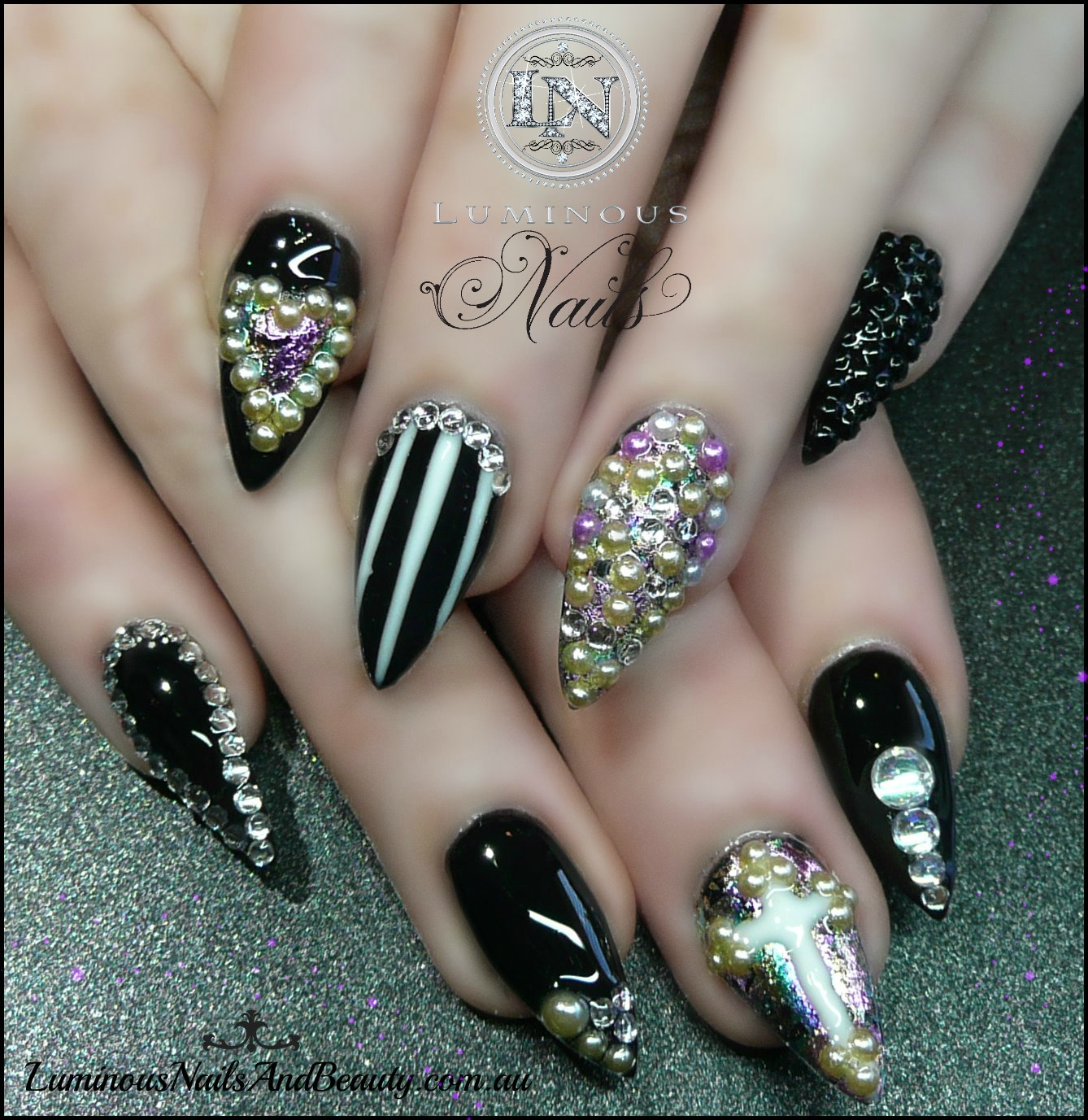 Luminous Nails: Black Pointy Nails with Bling Bling..