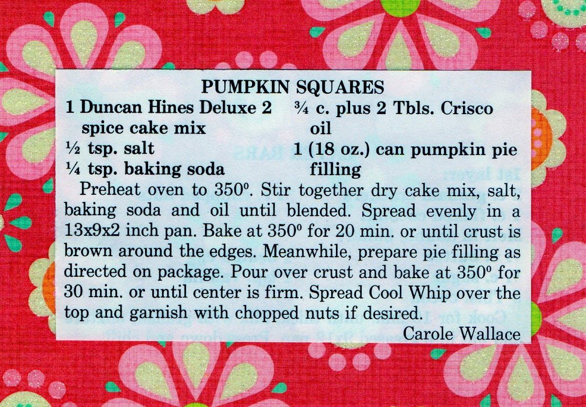Pumpkin Squares (quick recipe)