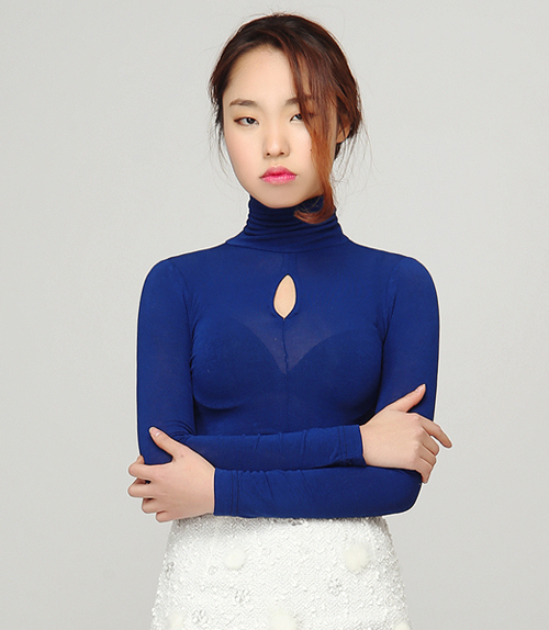 Keyhole See-thru Turtleneck Top