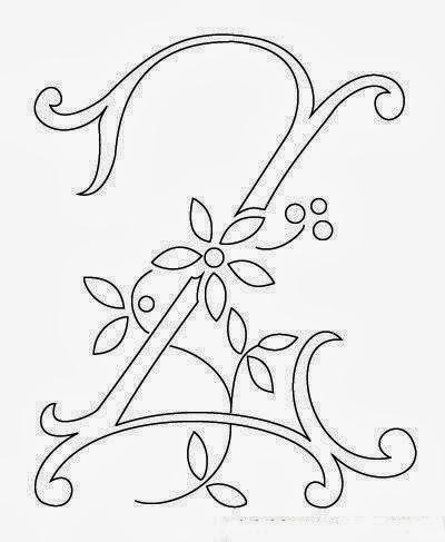 Z flower calligraphy monogram tattoo stencil
