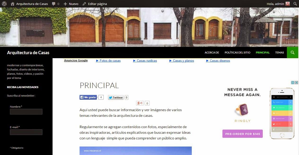 Imagen de la página principal del sitio web sobre arquitectura de casas