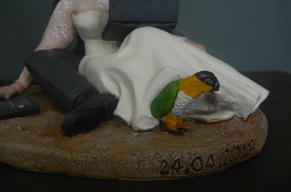 cake topper torta sposi animali domestici pappagallo matrimonio orme magiche