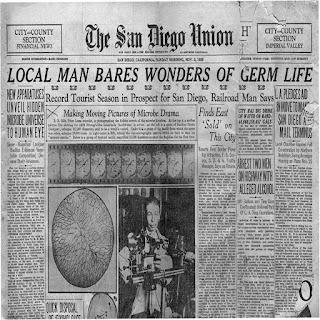 Foto del periodico San Diego Union hablando sobre los descubrimientos de Royal Rife