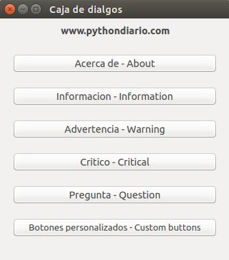 Caja de diálogos en PyQt