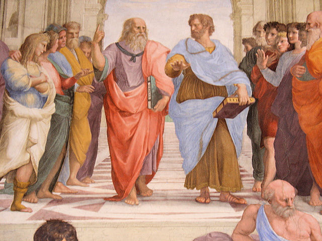 Our leading men: Plato on the left and Aristotle on the right, each expressing their worldly views from above or the here and now. Photo: EuroTravelogue™. Unauthorized use is prohibited.