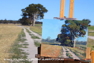 Salmon Gum tree, Newdegate - plein air oil painting location Andy Dolphin