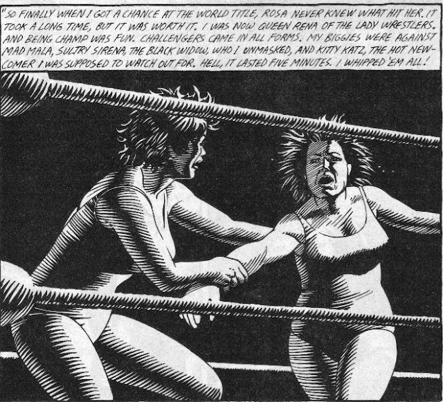 Love and Rockets Rena Titanon wrestling art