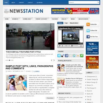 News Station blog template. template image slider blog. magazine blogger template style. wordpress theme to blogger. template video blog template. template business for blogger blog