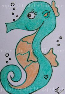 green seahorse aceo