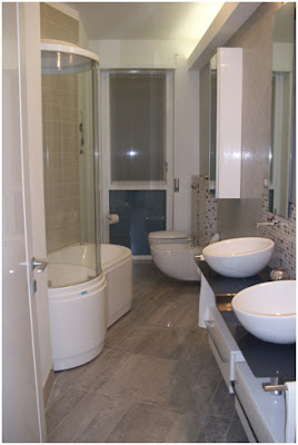 Riabitare easy chic appartamento anni 39 60 milano italy stefania castiglioni architetto - Bagno stretto e lungo disposizione sanitari ...