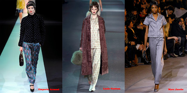 Tendencias mujer otoño/invierno 2013/14 pantalón pijama: Emporio Armani, Louis Vuitton y Marc Jacobs.