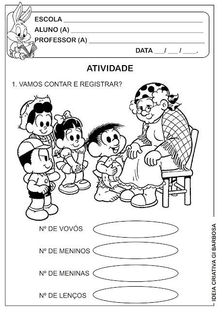 Atividade Matemática Dia dos Avós Turma da Mônica