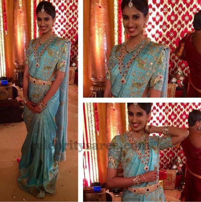 Bride in Sky Blue Work Silk Sari