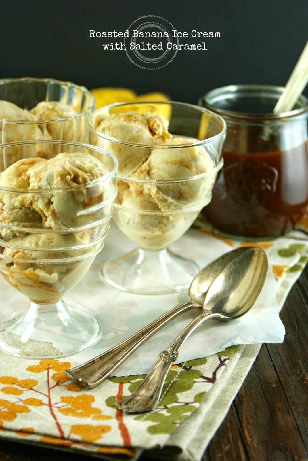 roasted banana ice cream with salted caramel + dole's peel the love banana cabana tour