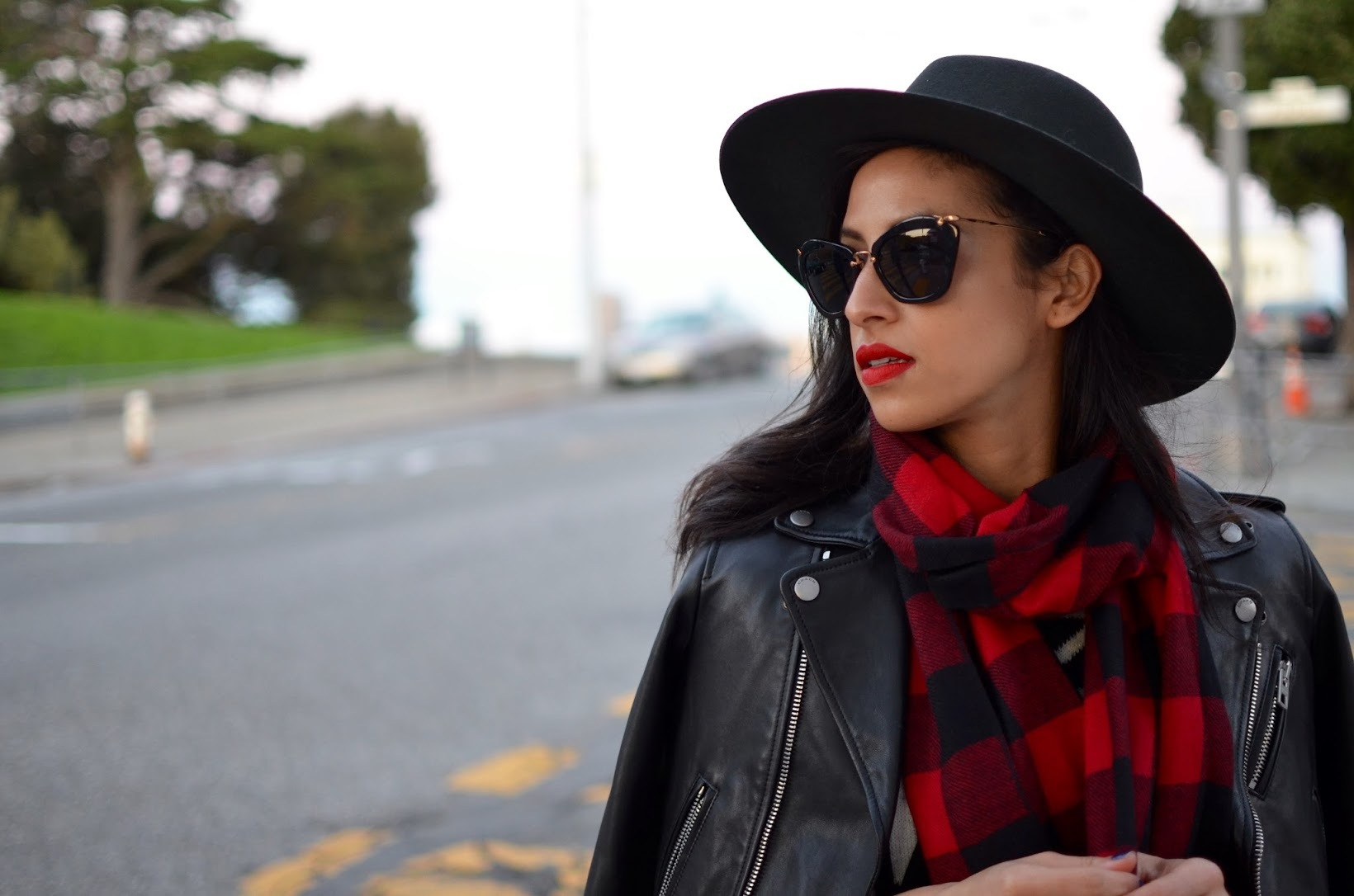 red buffalo check print scarf, cashmere scarf, Janessa Leone fedora, Coach moto jacket, Express Aztec circle sweater, black overalls, style in the city, allergic to vanilla