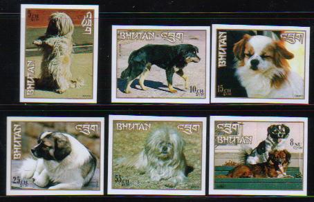 1972年ブータン王国 ラサ・アプソ チベタン・マスティフ チベタン・スパニエル チベタン・スパニエル ラサ・アプソ チベタン・スパニエルの切手