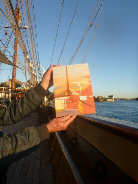 Plein air painting of the tall ship  'James Craig' and Sydney Heritage Fleet's tug 'Bronzewing'  by artist Jane Bennett