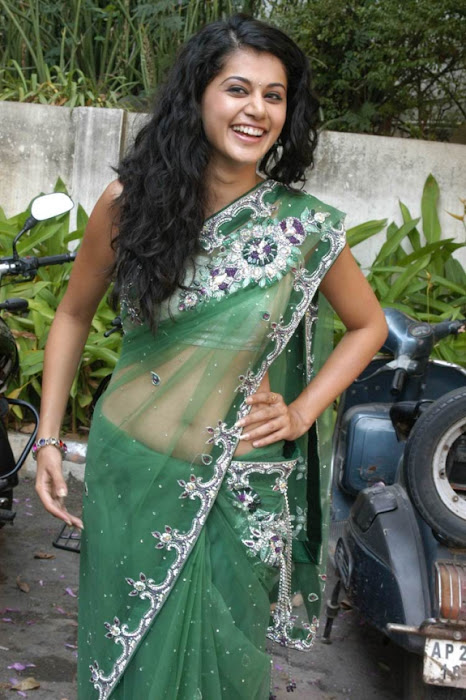 tapsee in shadow movie fame green saree , latest photos