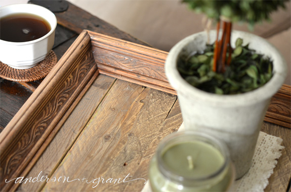 Check out this tutorial for making a reclaimed wood tray from a thrift store picture frame!  | www.andersonandgrant.com