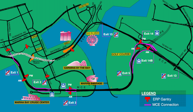 The Marina Coastal Expressway (MCE) map