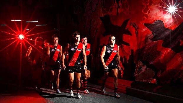 essendon bombers to the field