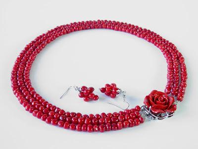 Biżuteria góralska ślubna,  Ekokoral, naszyjnik z korala, koral korale czerwone koral czerwony