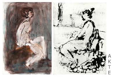 Maja-Helen Feustel: Sitzende weibl. Akte, l.Tuschzeichnung aquarelliert, r. Reservage