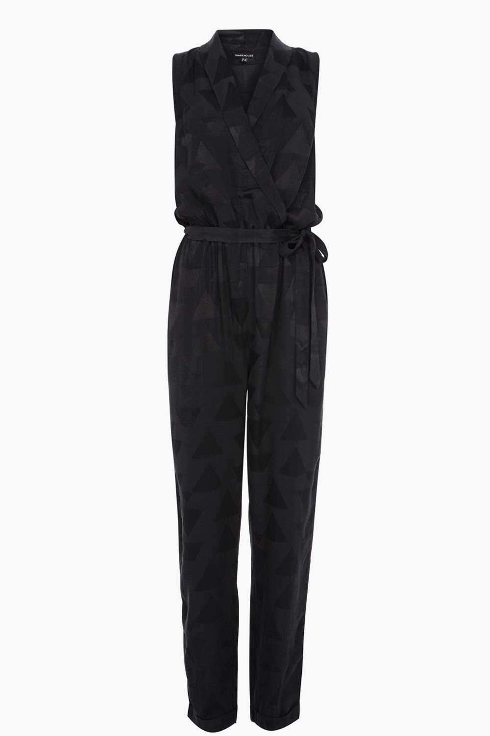 patterned black jumpsuit