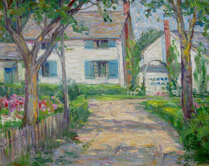 "Oil on canvas ""The Blue Shutters"" by Provincetown artist Maude Kaufman Eggemeyer, 1877-1959"