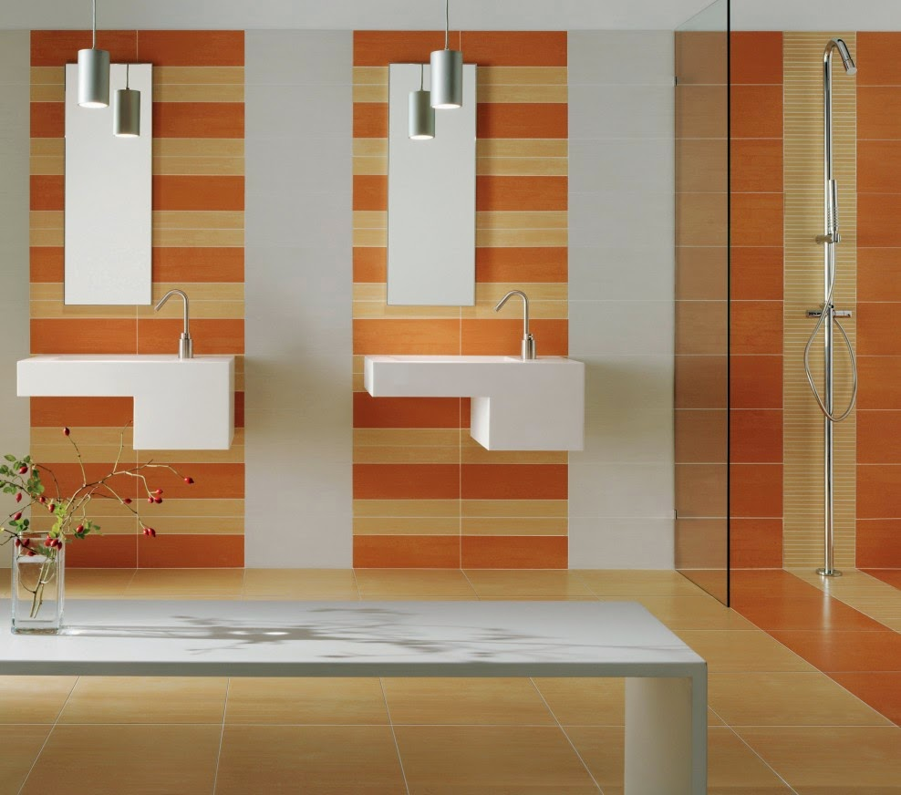 Tangerine farba barva color trendy 2015 master bathroom with stripes dark and light orange of the wall theme eye catching interior look for some modern master bathroom ideas