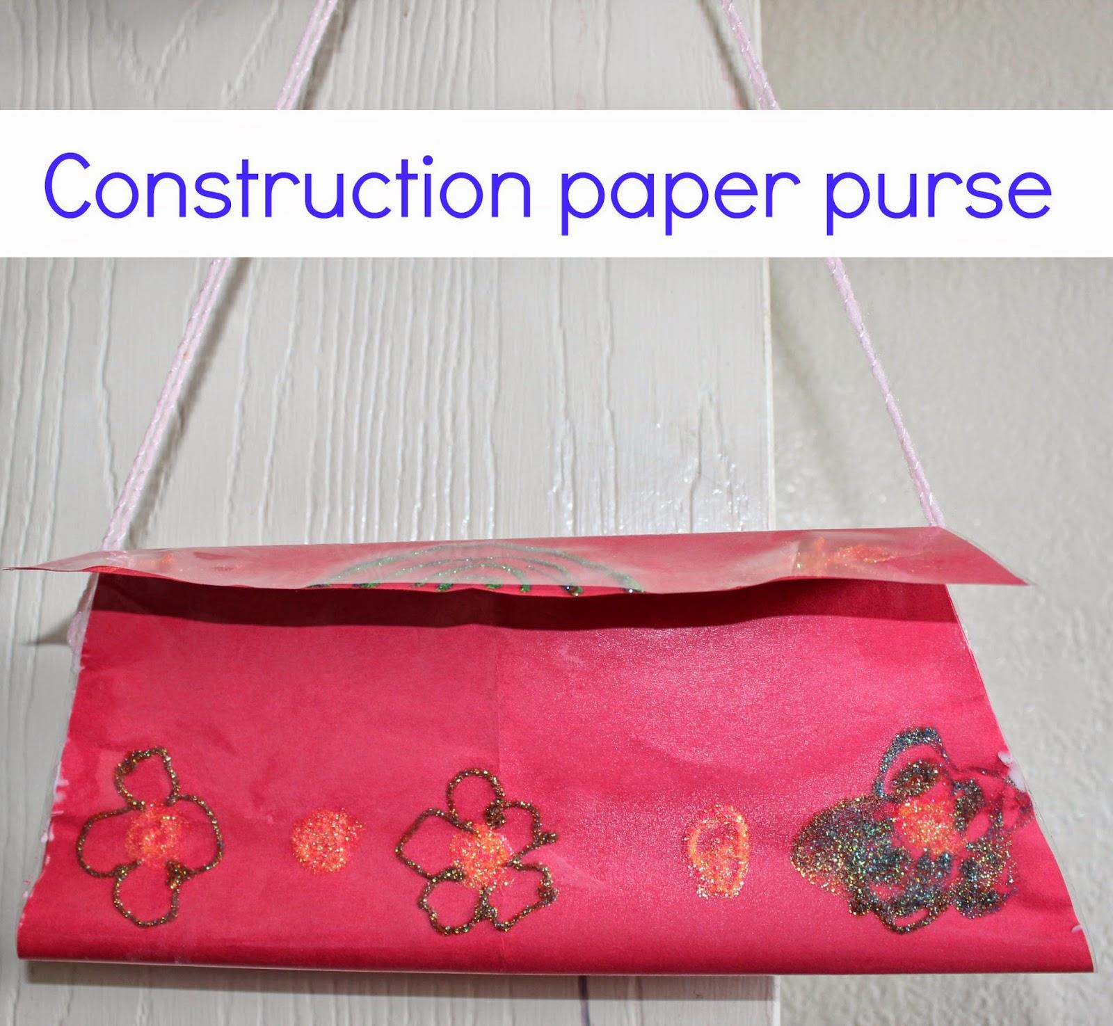 Construction paper purse