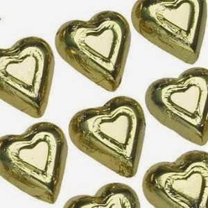Gold Solid Milk Chocolate Hearts (1/2 Lb - Approx 30 Pcs)
