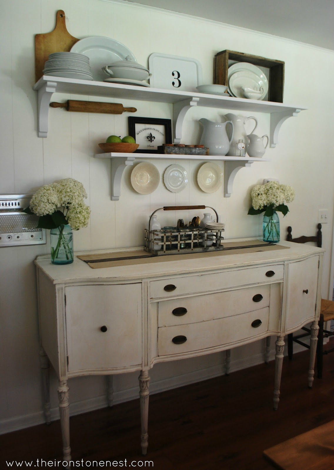 Remodelaholic white farmhouse dining room for Dining room shelves