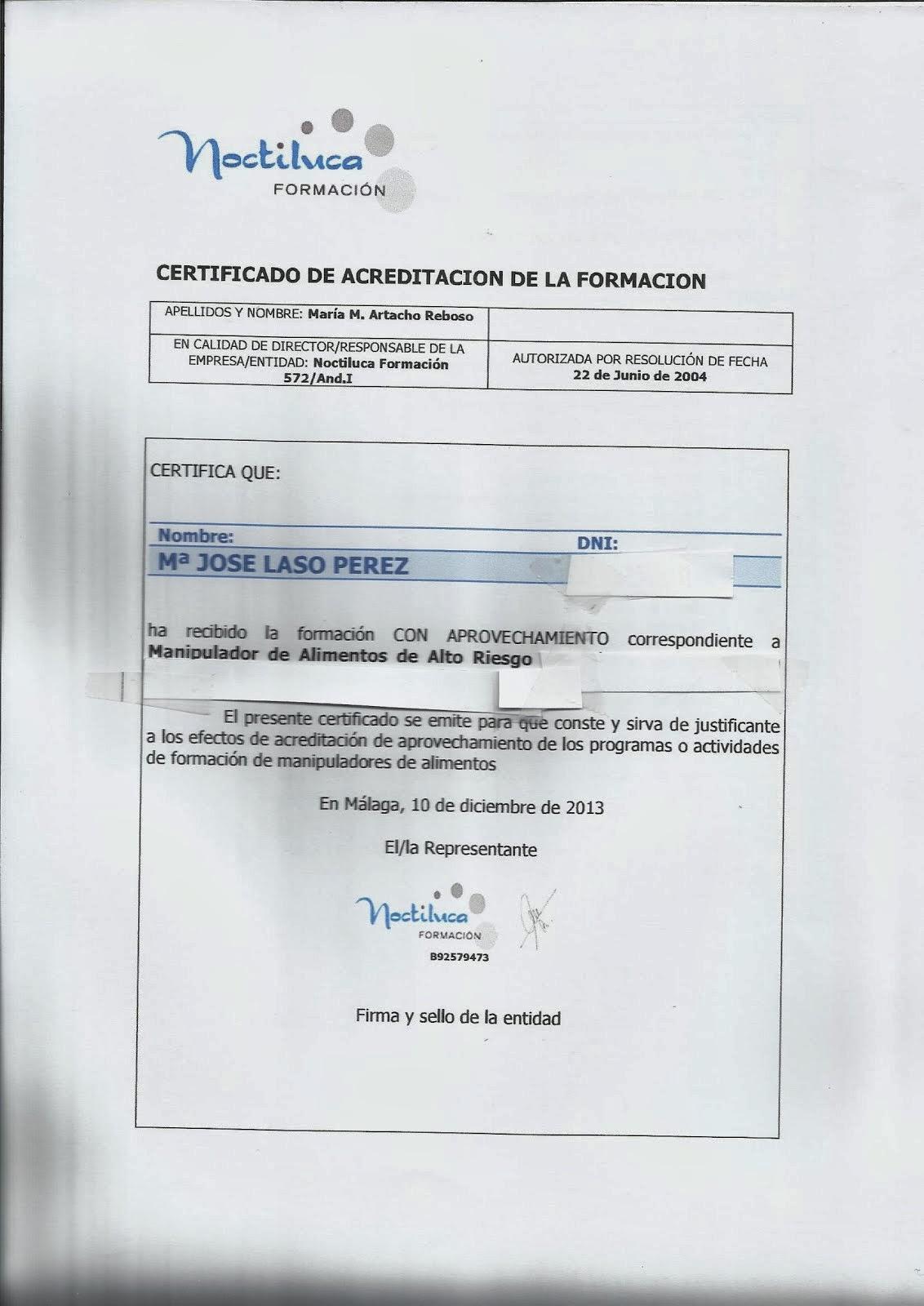 Certificado Manipulador Alto Riesgo