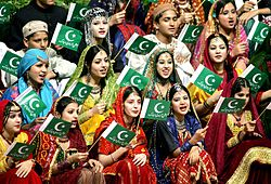 Pakistani young girls with flag