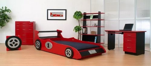 boys bedroom with cool car bed design