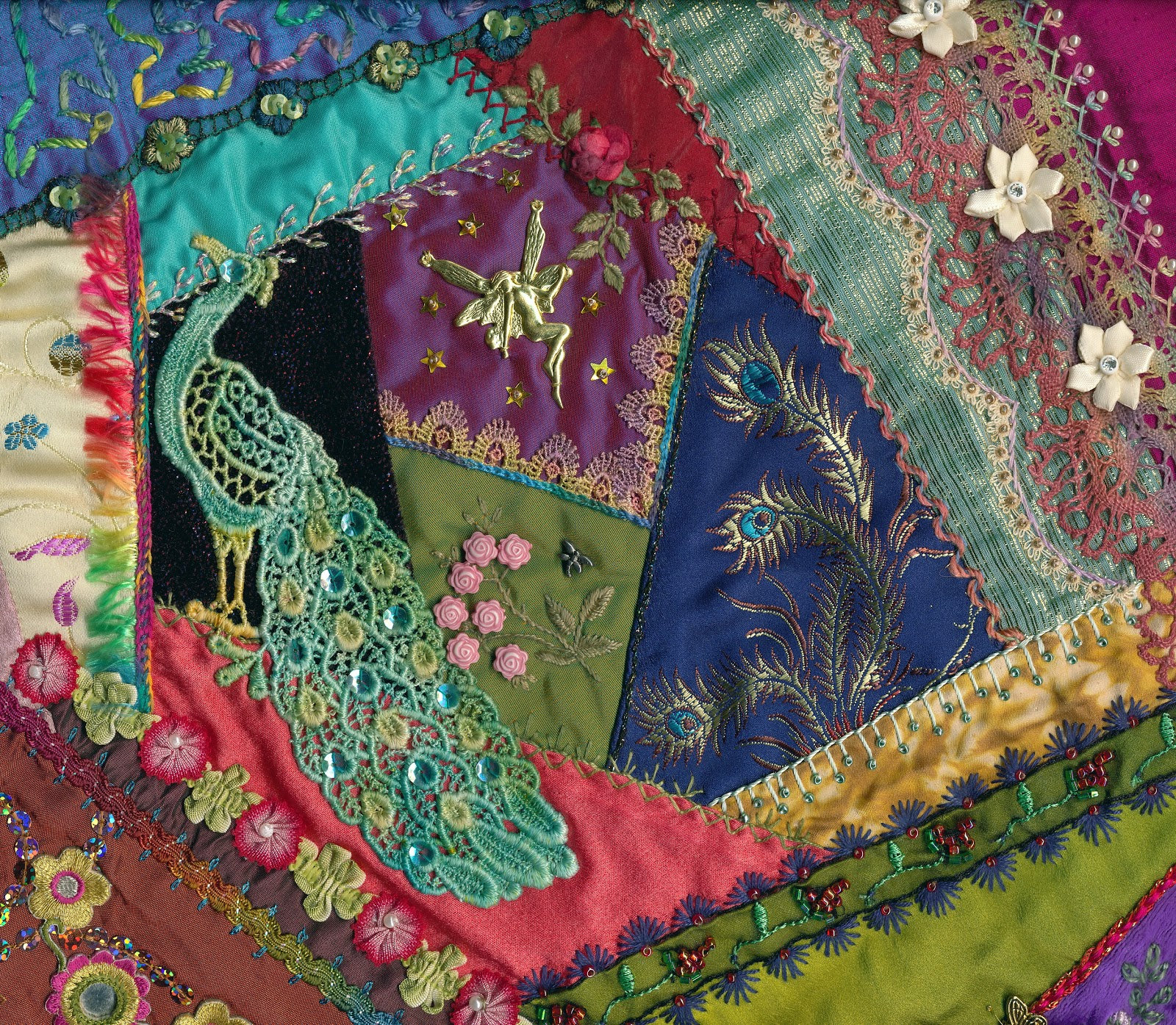 Crazy Quilt Pattern Fabric : Viv s Crazy Quilting Journey: Four coloured Crazy Quilt blocks completed