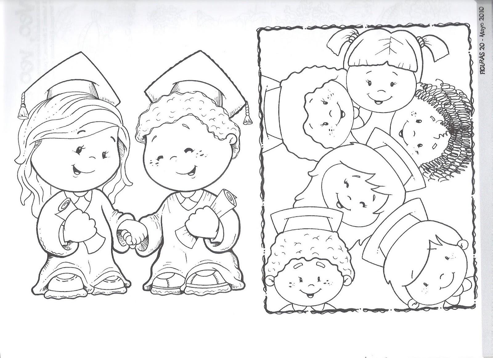 Dibujos para pintar de niños graduados - Imagui