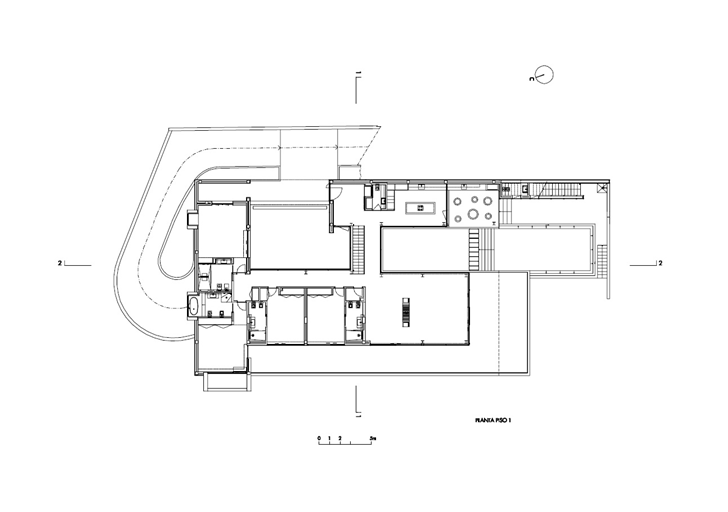 Ground floor plan of Modern Villa Escarpa by Mario Martins