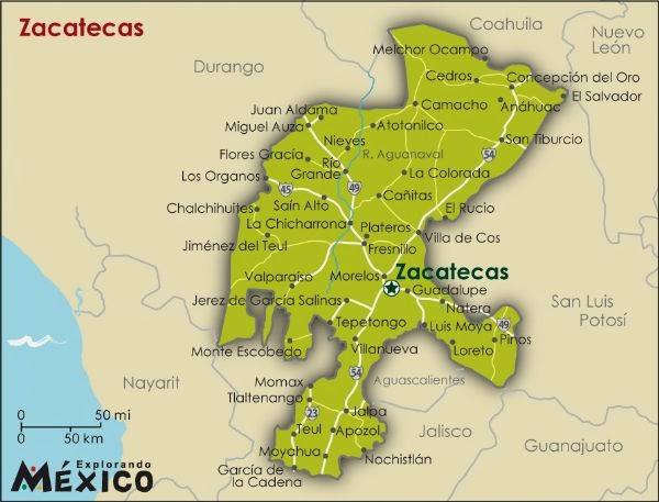 Mapa de Zacatecas