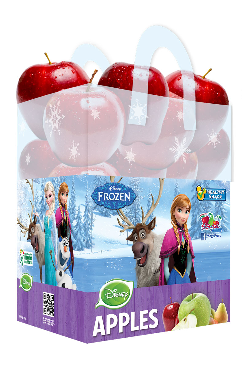 Disney's Frozen branded bagged apples by Sage are the latest additions and available now at grocery retailers nationwide.